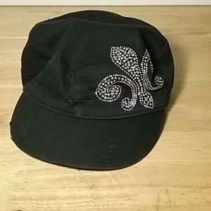 Fleur De Lis jeweled distressed adjustable cap